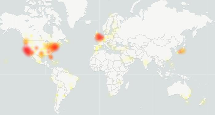 Mapa do DownDetector mostra reports de problemas com o Twitter. (Imagem: Reprodução/DownDetector)