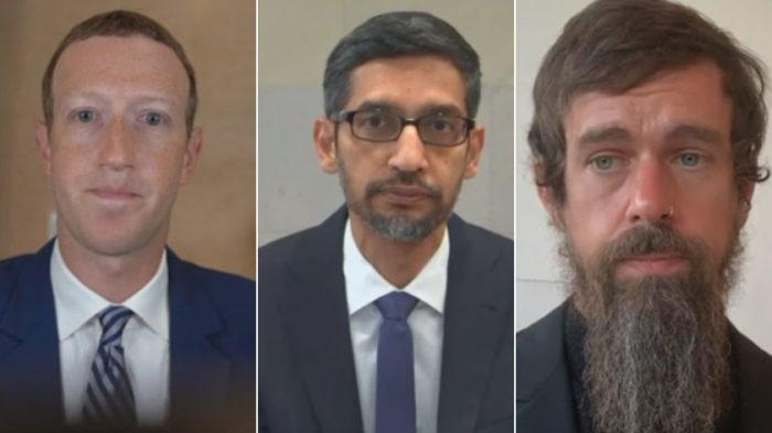 Mark Zuckerberg, Sundar Pichai e Jack Dorsey (Imagem: Reprodução)