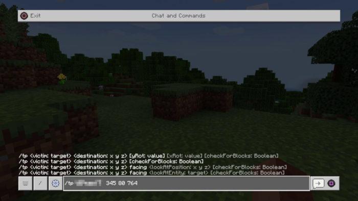 Tela de chat e sintaxe do comando TP (Imagem: Mojang/Microsoft Studios/Reprodução) / como dar tp no Minecraft