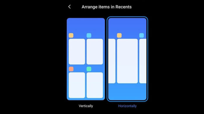 Apps recentes na horizontal - MIUI Launcher