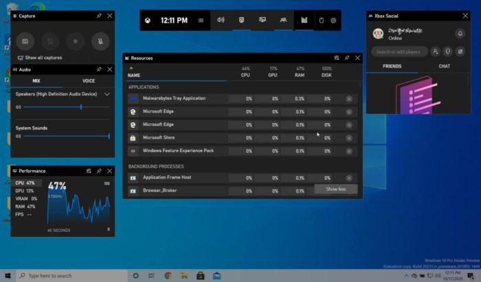 Novo widget para gerenciador de recursos do Windows 10 no Xbox Game Bar (Imagem: reprodução/BleepingComputer)