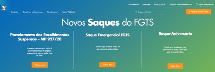 CAIXA / banner dos novos saques do FGTS / como sacar o FGTS