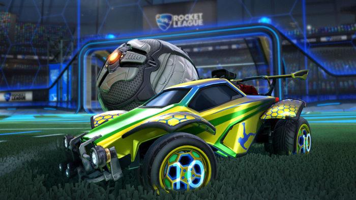 Carro temático com decorações de Pelé em Rocket League (Imagem: Epic Games)