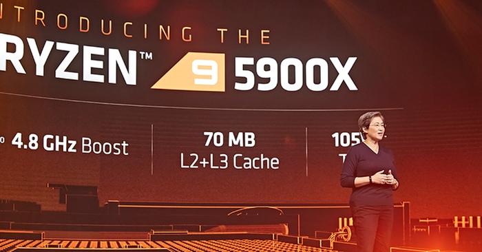 Lisa Su, CEO da AMD, na apresentação da linha Ryzen 5000