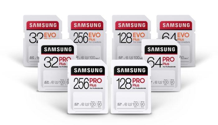 Cartões SD Pro Plus e Evo Plus (imagem: divulgação/Samsung)