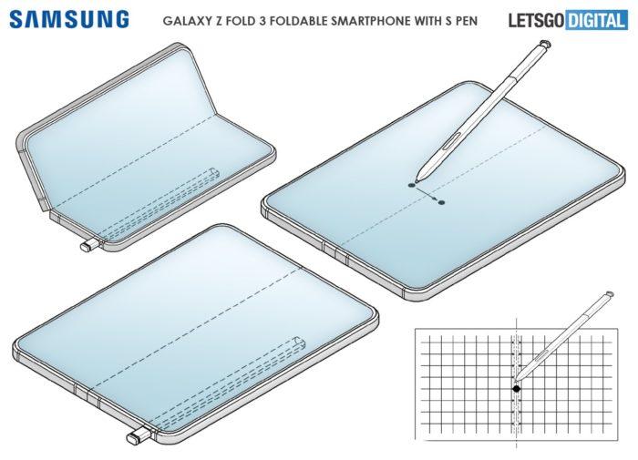 Patente da Samsung descreve Galaxy dobrável com S Pen (Imagem: reprodução/LetsGoDigital)