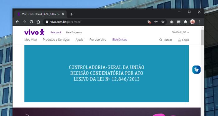 Site da Vivo informando sobre decisão condenatória. (Imagem: Reprodução/Site Vivo)