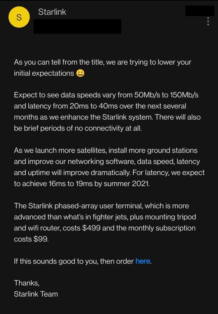 Mensagem da Starlink sobre beta público (Imagem: Reprodução/Reddit)
