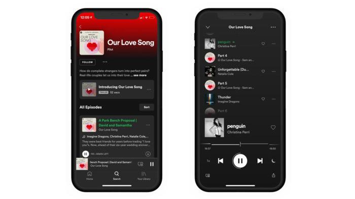 Tela do Spotify com músicas tocadas em episódio de podcast (Imagem: Divulgação/Spotify)