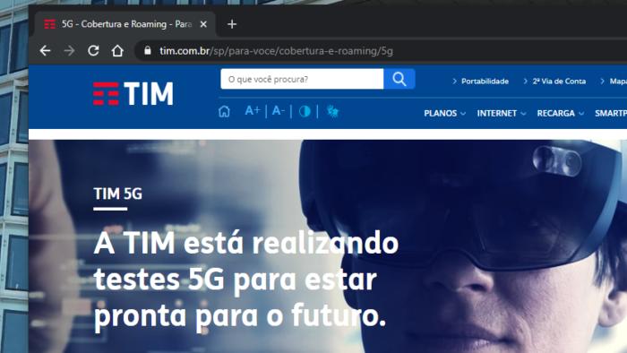 Site da TIM sobre 5G (Imagem: Reprodução/Site TIM)