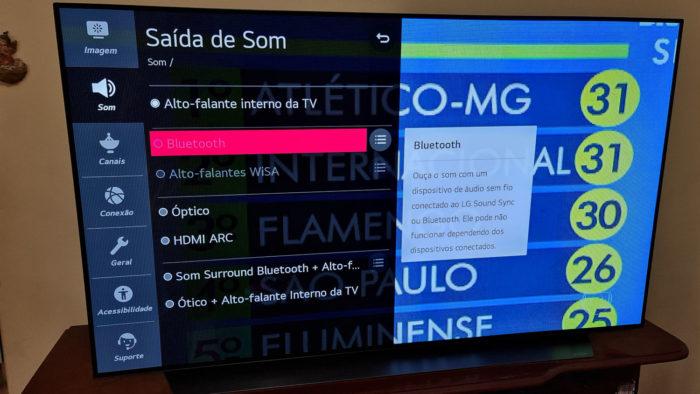 Menu Bluetooth da TV LG CX (Imagem: Ronaldo Gogoni/Tecnoblog) / como ligar o bluetooth da tv lg