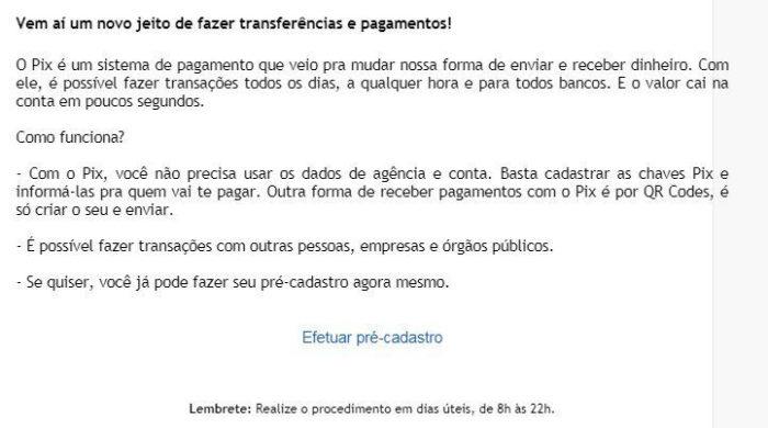 E-mail de phishing promete cadastro de chaves do Pix (Imagem: Reprodução/Kaspersky)
