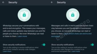 WhatsApp prepara mais avisos para chats sem criptografia de ponta a ponta