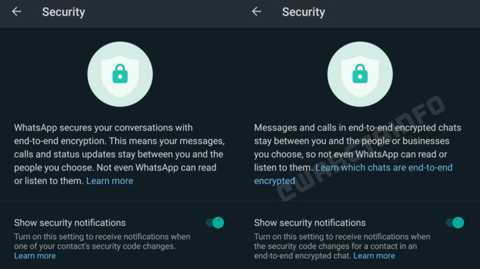 WhatsApp atualiza texto sobre criptografia (Imagem: Reprodução/WABetaInfo)
