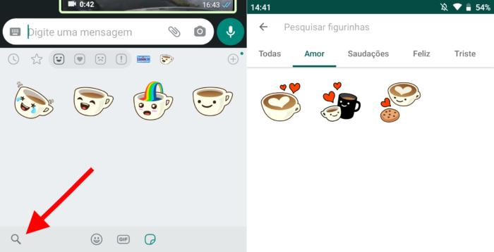 Busca por stickers no WhatsApp Beta para Android (Imagem: Reprodução/WhatsApp)