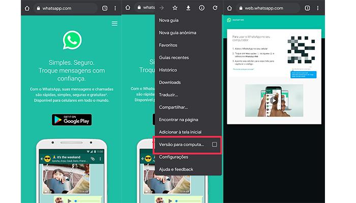 Como entrar no WhatsApp Web pelo celular (Imagem: Reprodução/WhatsApp)