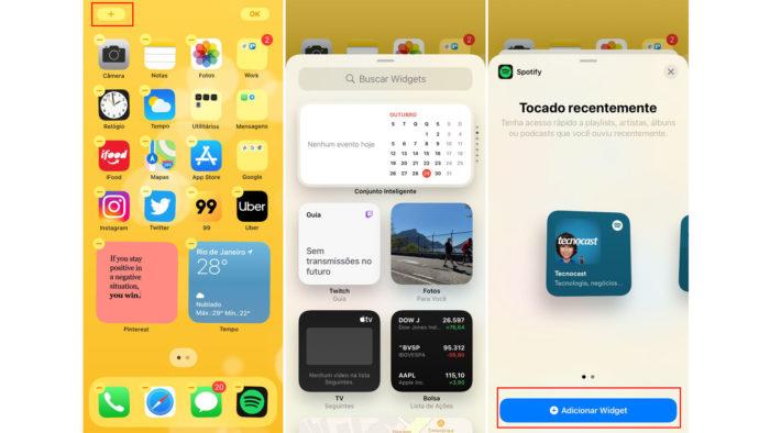 Como colocar widgets no iPhone com iOS 14 ou superior (Imagem: Reprodução/iOS)