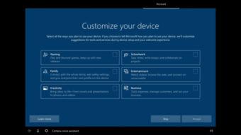 Windows 10 testa personalizar instalação para jogos, estudos ou negócios