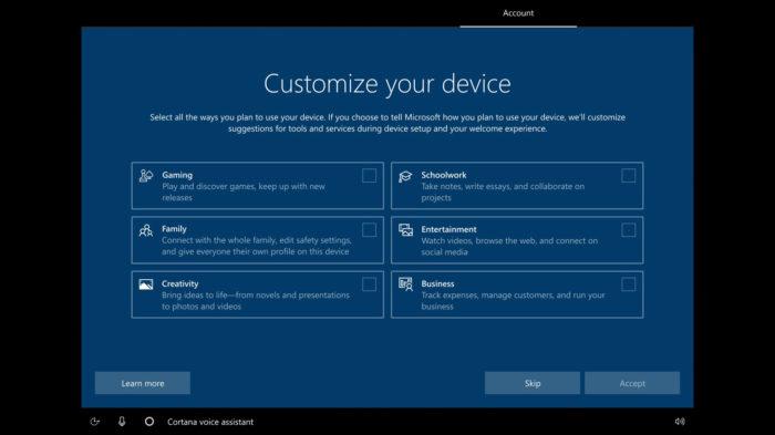 Tela de instalação do Windows 10 para definir finalidades do dispositivo (Imagem: Reprodução/Microsoft)