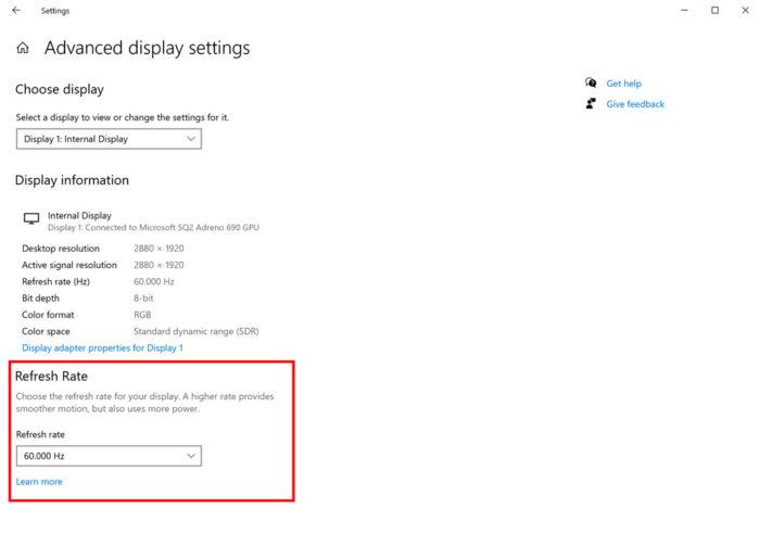 Recurso para mudar taxa de atualização no Windows 10 (Imagem: Divulgação/Microsoft)