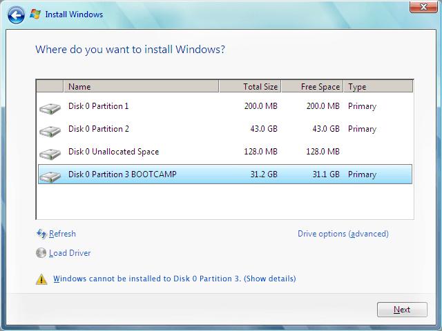 Tela de instalação do Windows 7 (Imagem: Microsoft/Reprodução) / como instalar windows 7 no mac