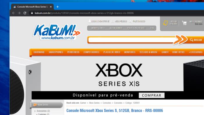 Xbox Series X e S em pré-venda (Imagem: Reprodução/Kabum)