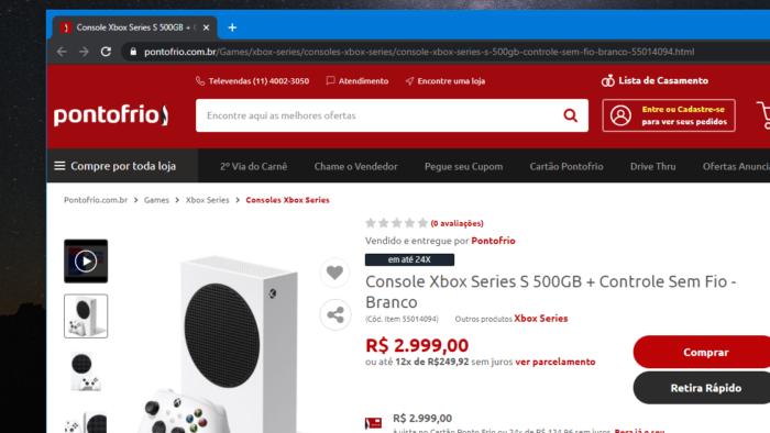 Xbox Series S mantém preço antigo (Imagem: Reprodução/Ponto Frio)