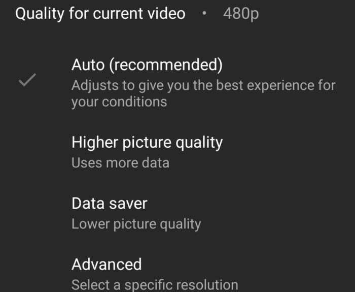 Novos ajustes para resolução no YouTube do Android (Imagem: reprodução/Android Police)