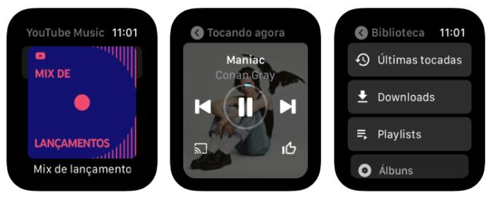 YouTube Music no Apple Watch (Imagem: divulgação/Google)