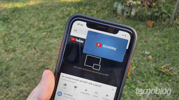 YouTube volta a exibir vídeos PiP no iOS 14 para todos os usuários (Foto: Bruno Gall De Blasi/Tecnoblog)