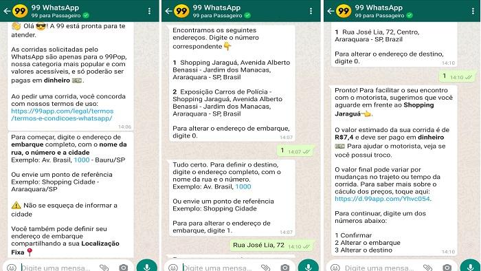 Como pedir um carro da 99 por WhatsApp (Imagem: Reprodução / WhatsApp 99)