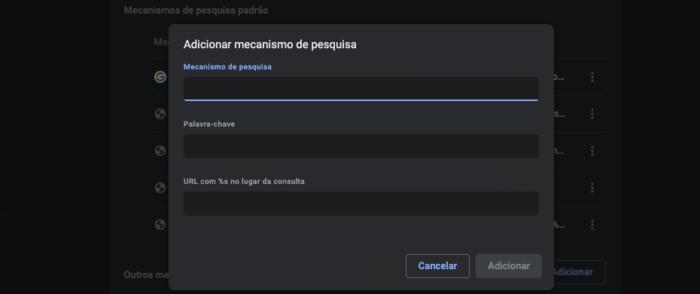 Adicionar mecanismo de busca no Google Chrome (Imagem: Reprodução/Chrome)