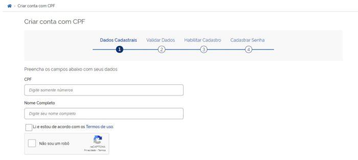 Cadastro no portal gov.br (Imagem: Reprodução / Gov.br)