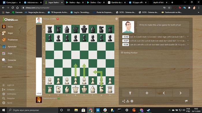 Visual do chess.com (Imagem: Leandro Kovacs/Reprodução)