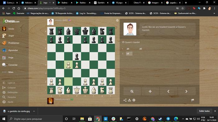 O famoso Gambito da Rainha (Imagem: Chess.com/Reprodução)