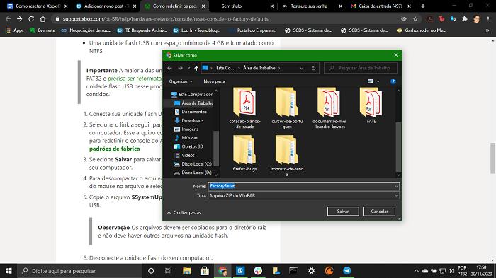 Baixando arquivo config de fábrica no suporte Xbox (Imagem: Leandro Kovacs/Reprodução)