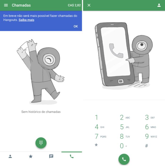 Interface do Google para chamadas VoIP (Imagem: Reprodução/Hangouts)