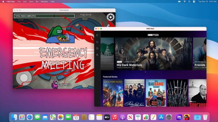 HBO Max e Among Us rodando no Mac (Imagem: Reprodução/Apple)