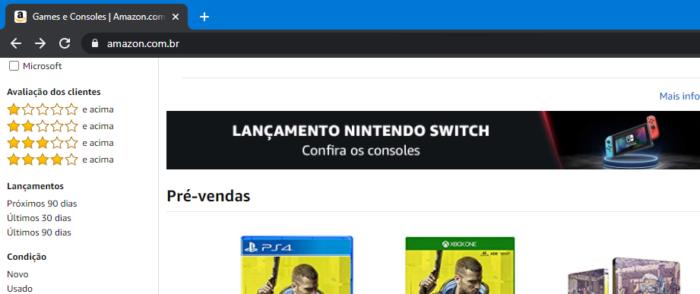 Anúncio para Loja Nintendo (Imagem: Reprodução / Amazon Brasil)