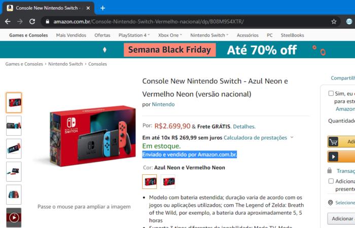 Console é enviado e vendido por Amazon (Imagem: Reprodução)