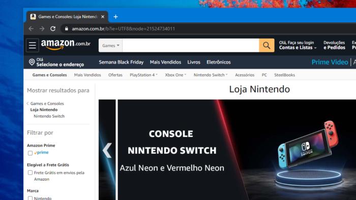 Loja Nintendo (Imagem: Reprodução / Amazon Brasil)