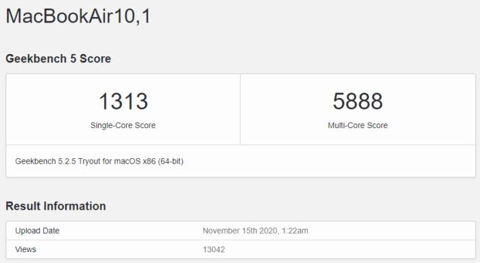 MacBook Air passa por teste de desempenho (Imagem: Reprodução/Geekbench)