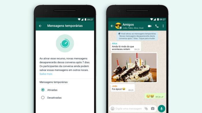 Mensagens temporárias no Android (Imagem: Divulgação/WhatsApp)