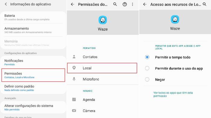 Como mudar a configuração de acesso ao local em um app (Imagem: Reprodução / Android)