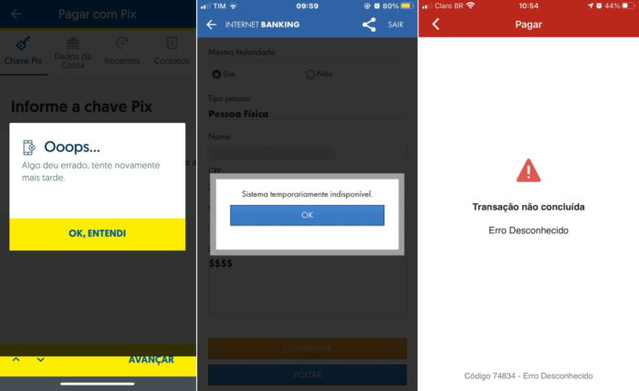 Pix tem falhas pontuais no BB, Caixa e Santander (Imagem: Reprodução/Twitter)