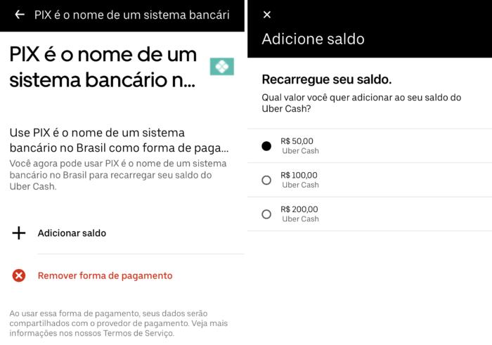 É possível adquirir créditos via Pix (Imagem: Reprodução/Uber)