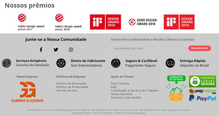 """Página lista """"Nossos prêmios"""" como se representasse Huami (Imagem: Reprodução/Amazfit Brasil)"""
