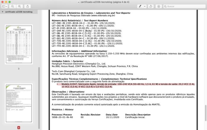 Certificado de conformidade do MacBook Pro com Apple M1 (Imagem: Reprodução/Anatel)