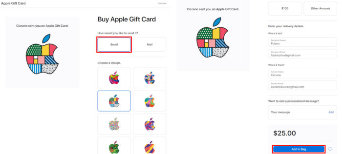 Página de seleção de gift card no site da Apple US (Imagem: Reprodução/Apple)