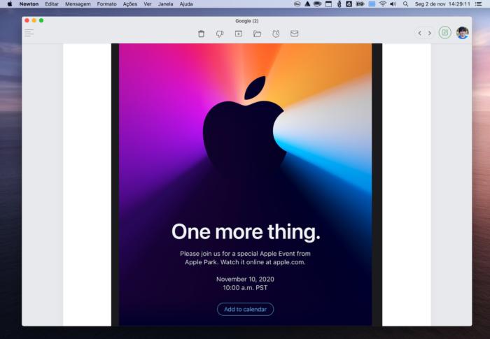 """Evento da Apple: """"One more thing"""" (Imagem: Reprodução/Apple)"""